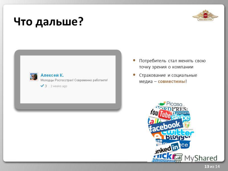 13 из 14 Что дальше? Потребитель стал менять свою точку зрения о компании Страхование и социальные медиа – совместимы!