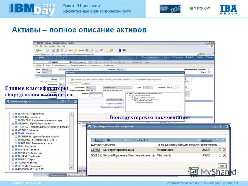 Активы – полное описание активов Единые классификаторы оборудования и материалов Конструкторская документация
