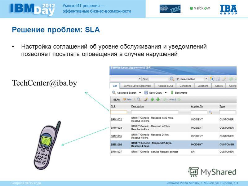 Решение проблем: SLA Настройка соглашений об уровне обслуживания и уведомлений позволяет посылать оповещения в случае нарушений TechCenter@iba.by