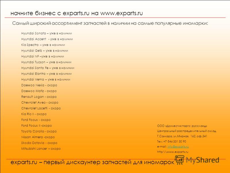 начните бизнес с exparts.ru на www.exparts.ru exparts.ru – первый дискаунтер запчастей для иномарок Самый широкий ассортимент запчастей в наличии на самые популярные иномарки: Hyundai Sonata – уже в наличии Hyundai Accent - уже в наличии Kia Spectra