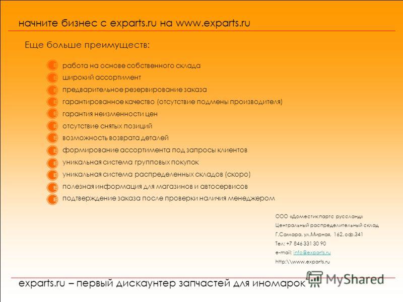 начните бизнес с exparts.ru на www.exparts.ru exparts.ru – первый дискаунтер запчастей для иномарок Еще больше преимуществ: работа на основе собственного склада широкий ассортимент предварительное резервирование заказа гарантированное качество (отсут