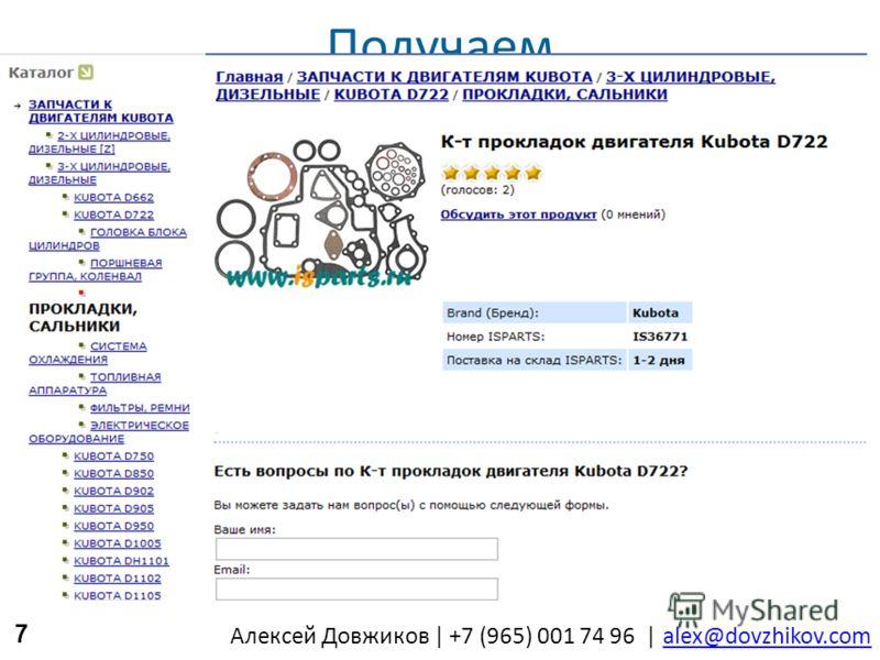 Алексей Довжиков | +7 (965) 001 74 96 | alex@dovzhikov.comalex@dovzhikov.com Получаем 7