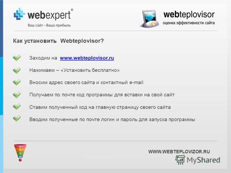 WWW.WEBTEPLOVIZOR.RU Заходим на www.webteplovisor.ruwww.webteplovisor.ru Нажимаем – «Установить бесплатно» Вносим адрес своего сайта и контактный e-mail Получаем по почте код программы для вставки на свой сайт Ставим полученный код на главную страниц