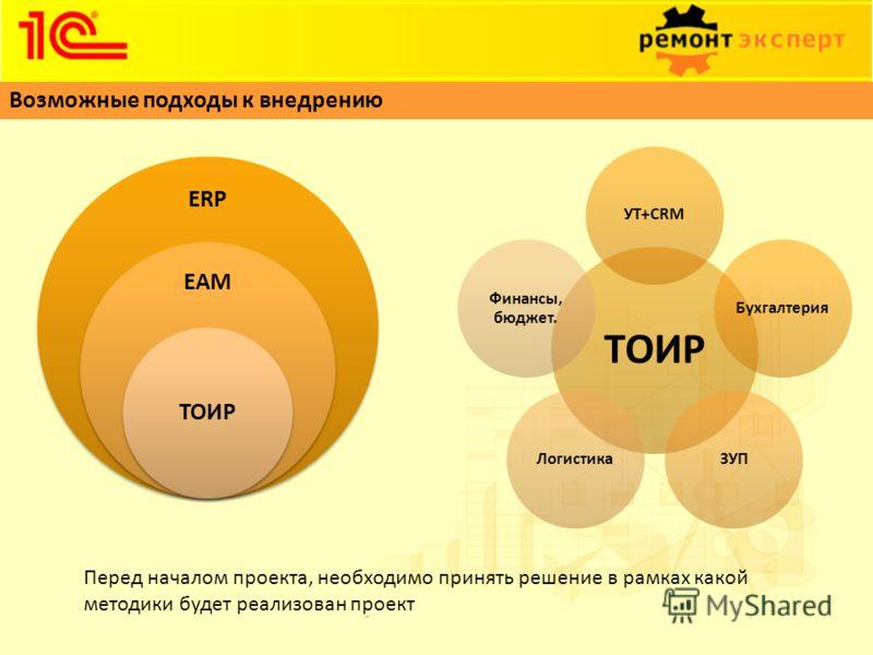 Возможные подходы к внедрению ERP EAM ТОИР УТ+CRMБухгалтерияЗУПЛогистика Финансы, бюджет. Перед началом проекта, необходимо принять решение в рамках какой методики будет реализован проект