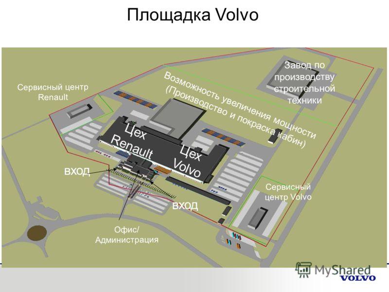 Площадка Volvo Сервисный центр Renault Сервисный центр Volvo Цех Renault Цех Volvo вход Офис/ Администрация Возможность увеличения мощности (Производство и покраска кабин) Завод по производству строительной техники