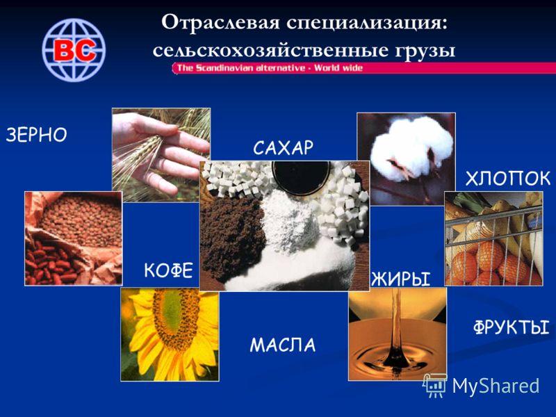 Отраслевая специализация: сельскохозяйственные грузы ЗЕРНО ХЛОПОК МАСЛА КОФЕ ФРУКТЫ ЖИРЫ САХАР