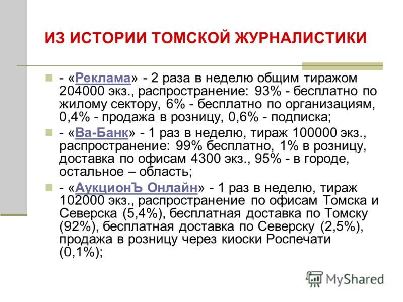 ИЗ ИСТОРИИ ТОМСКОЙ ЖУРНАЛИСТИКИ - «Реклама» - 2 раза в неделю общим тиражом 204000 экз., распространение: 93% - бесплатно по жилому сектору, 6% - бесплатно по организациям, 0,4% - продажа в розницу, 0,6% - подписка;Реклама - «Ва-Банк» - 1 раз в недел