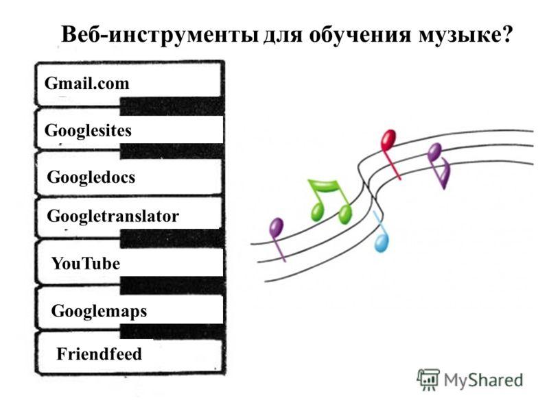 Веб-инструменты для обучения музыке? Googlesites Googledocs YouTube Googlemaps Gmail.com Googletranslator Friendfeed