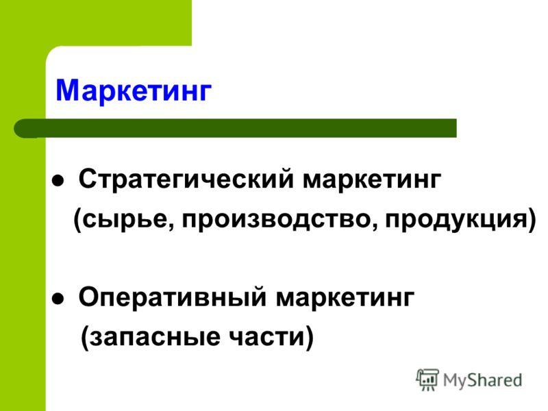 Стратегический маркетинг (сырье, производство, продукция) Оперативный маркетинг (запасные части) Маркетинг