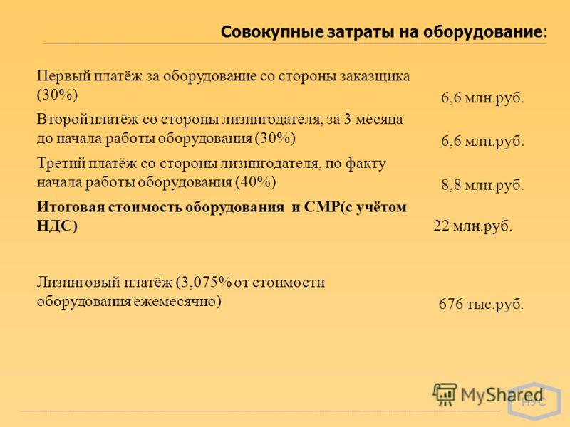 НУС Совокупные затраты на оборудование: Первый платёж за оборудование со стороны заказщика (30%) 6,6 млн.руб. Второй платёж со стороны лизингодателя, за 3 месяца до начала работы оборудования (30%) 6,6 млн.руб. Третий платёж со стороны лизингодателя,