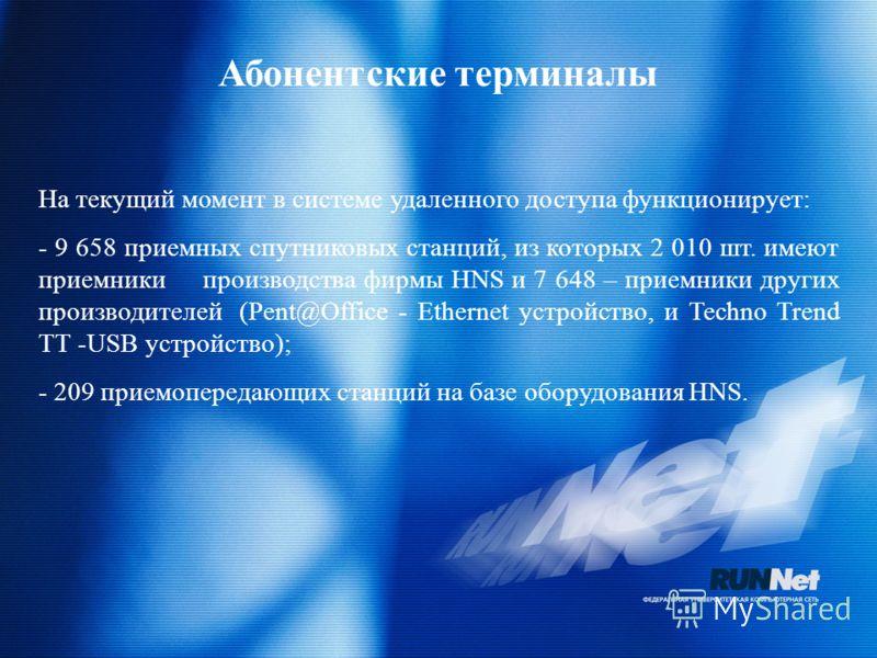 Абонентские терминалы На текущий момент в системе удаленного доступа функционирует: - 9 658 приемных спутниковых станций, из которых 2 010 шт. имеют приемники производства фирмы HNS и 7 648 – приемники других производителей (Pent@Office - Ethernet ус