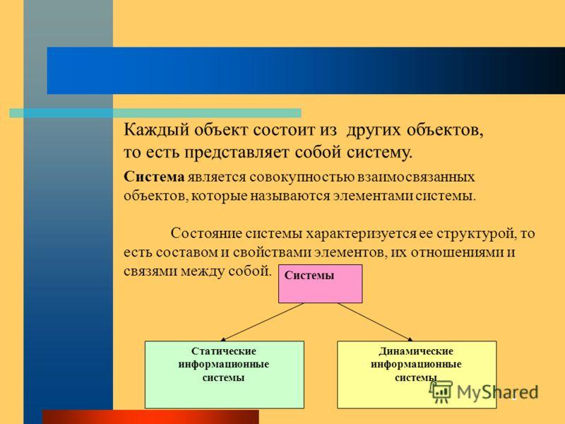 2 Системы Статические информационные системы Динамические информационные системы Система является совокупностью взаимосвязанных объектов, которые называются элементами системы. Состояние системы характеризуется ее структурой, то есть составом и свойс