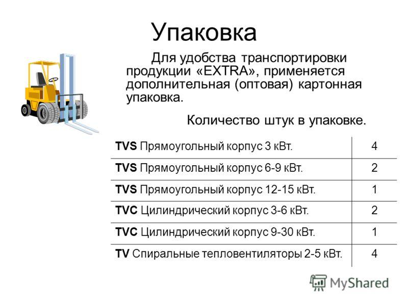 Упаковка Для удобства транспортировки продукции «EXTRA», применяется дополнительная (оптовая) картонная упаковка. Количество штук в упаковке. TVS Прямоугольный корпус 3 кВт.4 TVS Прямоугольный корпус 6-9 кВт.2 TVS Прямоугольный корпус 12-15 кВт.1 TVC