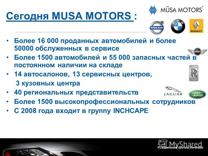 Сегодня MUSA MOTORS : Более 16 000 проданных автомобилей и более 50000 обслуженных в сервисе Более 1500 автомобилей и 55 000 запасных частей в постоянном наличии на складе 14 автосалонов, 13 сервисных центров, 3 кузовных центра 40 региональных предст