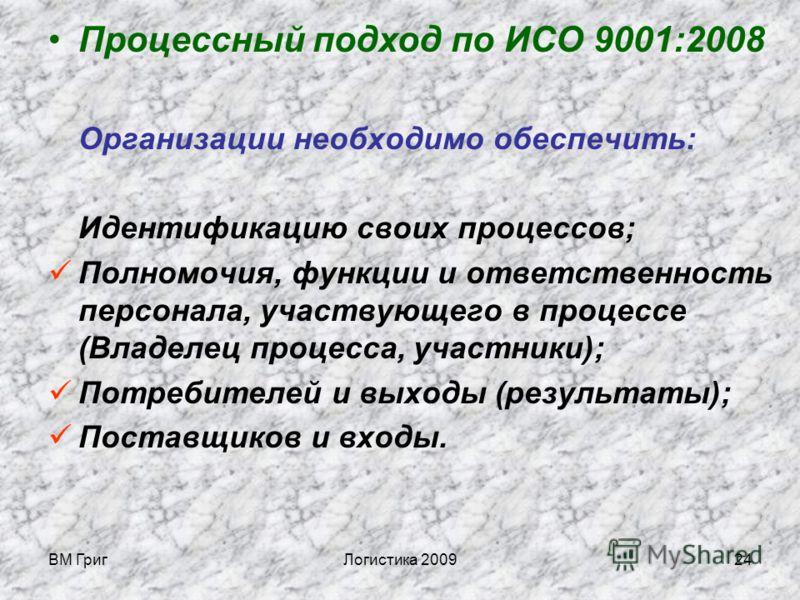 ВМ ГригЛогистика 200923 3 Логистическая деятельность очень важна для большинства организаций. Должно осуществляться построение интерфейса (взаимодействия внешнего и внутреннего) на основе процессного и проектного управления по ИСО серий 9000 и 10000.