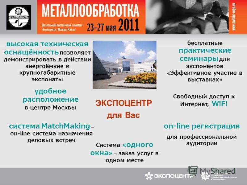 высокая техническая оснащённость позволяет демонстрировать в действии энергоёмкие и крупногабаритные экспонаты бесплатные практические семинары для экспонентов «Эффективное участие в выставках» удобное расположение в центре Москвы ЭКСПОЦЕНТР для Вас