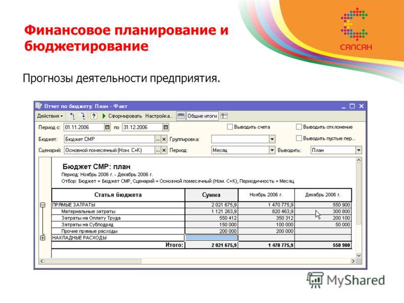 Финансовое планирование и бюджетирование Прогнозы деятельности предприятия.