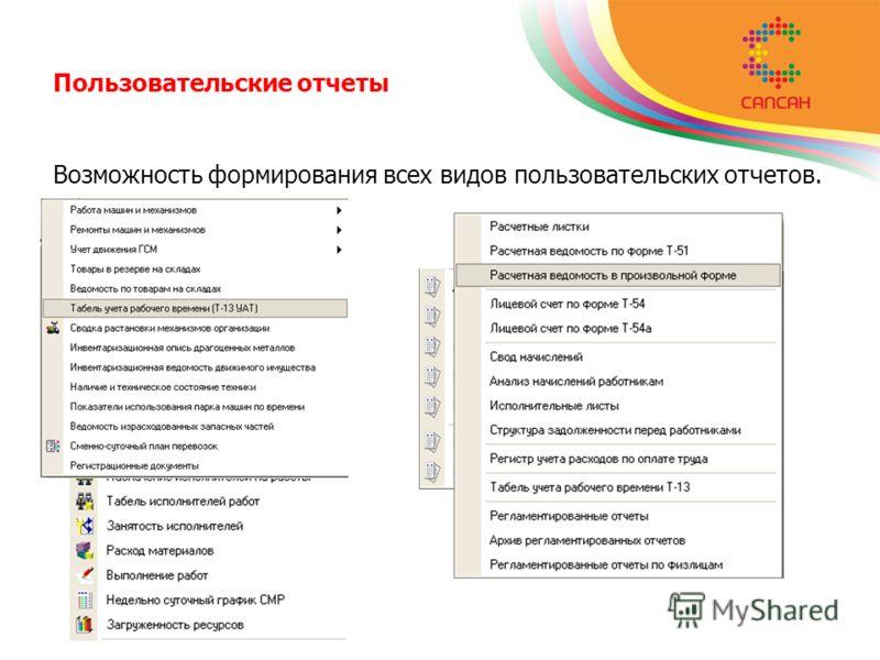 Пользовательские отчеты Возможность формирования всех видов пользовательских отчетов.