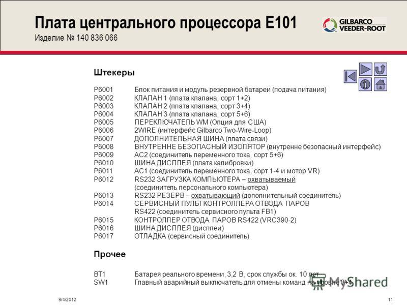 9/4/201211 Плата центрального процессора E101 Изделие 140 836 066 Штекеры P6001Блок питания и модуль резервной батареи (подача питания) P6002КЛАПАН 1 (плата клапана, сорт 1+2) P6003КЛАПАН 2 (плата клапана, сорт 3+4) P6004КЛАПАН 3 (плата клапана, сорт