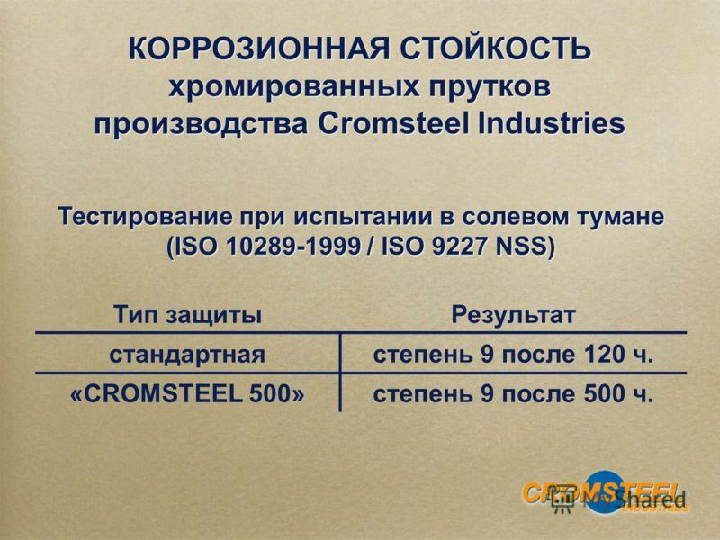 КОРРОЗИОННАЯ СТОЙКОСТЬ хромированных прутков производства Cromsteel Industries КОРРОЗИОННАЯ СТОЙКОСТЬ хромированных прутков производства Cromsteel Industries Тип защитыРезультат стандартнаястепень 9 после 120 ч. «CROMSTEEL 500»степень 9 после 500 ч.