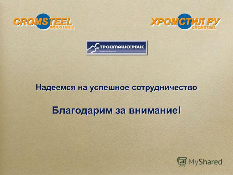 Надеемся на успешное сотрудничество Благодарим за внимание! Надеемся на успешное сотрудничество Благодарим за внимание!