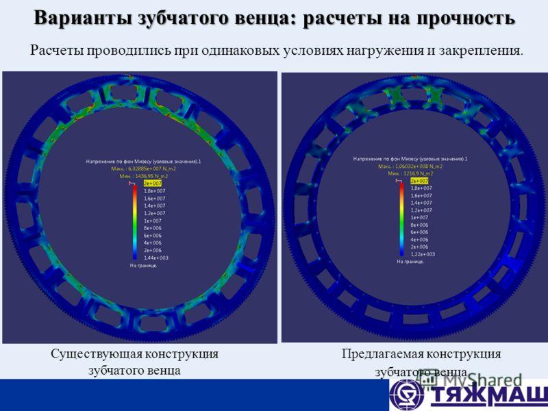 Варианты зубчатого венца: расчеты на прочность Расчеты проводились при одинаковых условиях нагружения и закрепления. Предлагаемая конструкция зубчатого венца Существующая конструкция зубчатого венца
