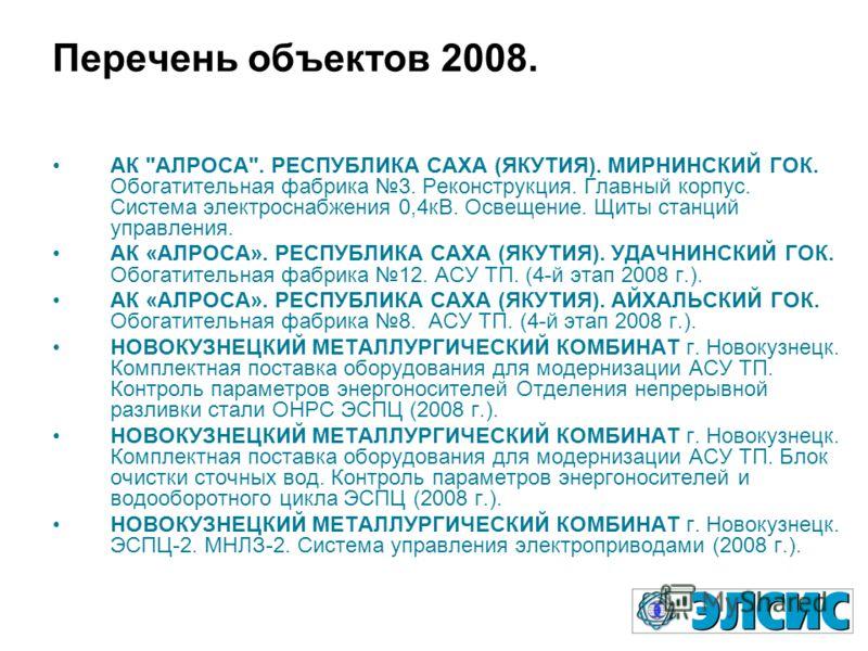 Перечень объектов 2008. АК
