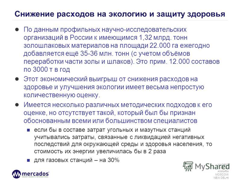 MADRID MILAN ANKARA MOSCOW NEW DELHI Снижение расходов на экологию и защиту здоровья По данным профильных научно-исследовательских организаций в России к имеющимся 1,32 млрд. тонн золошлаковых материалов на площади 22.000 га ежегодно добавляется ещё
