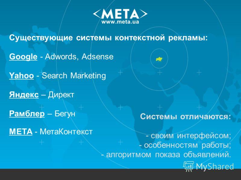 Существующие системы контекстной рекламы: Google - Adwords, Adsense Yahoo - Search Marketing Яндекс – Директ Рамблер – Бегун МЕТА - МетаКонтекст Системы отличаются: - своим интерфейсом; - особенностям работы; - алгоритмом показа объявлений.