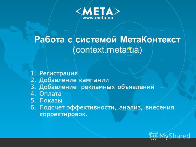Работа с системой МетаКонтекст (context.meta.ua) 1.Регистрация 2.Добавление кампании 3.Добавление рекламных объявлений 4.Оплата 5.Показы 6.Подсчет эффективности, анализ, внесения корректировок.