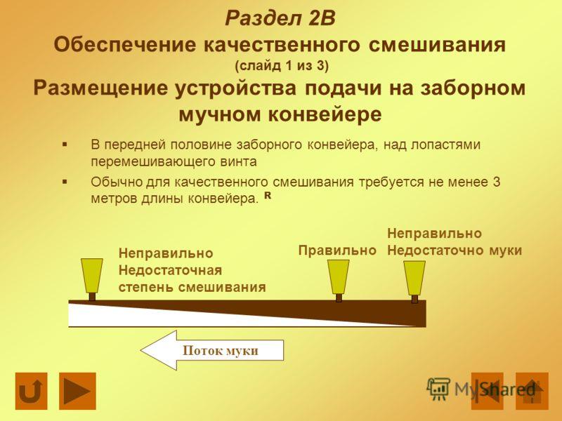 Раздел 2В Обеспечение качественного смешивания (слайд 1 из 3) Размещение устройства подачи на заборном мучном конвейере В передней половине заборного конвейера, над лопастями перемешивающего винта Обычно для качественного смешивания требуется не мене