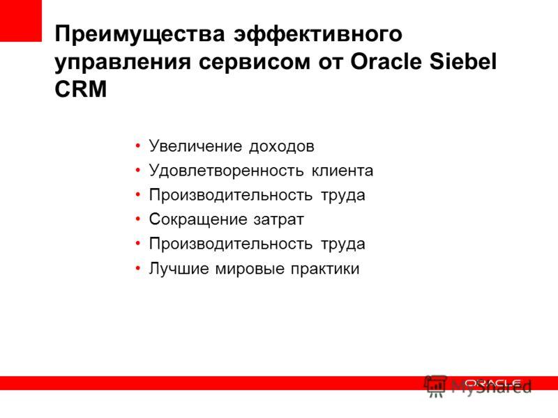 Преимущества эффективного управления сервисом от Oracle Siebel CRM Увеличение доходов Удовлетворенность клиента Производительность труда Сокращение затрат Производительность труда Лучшие мировые практики