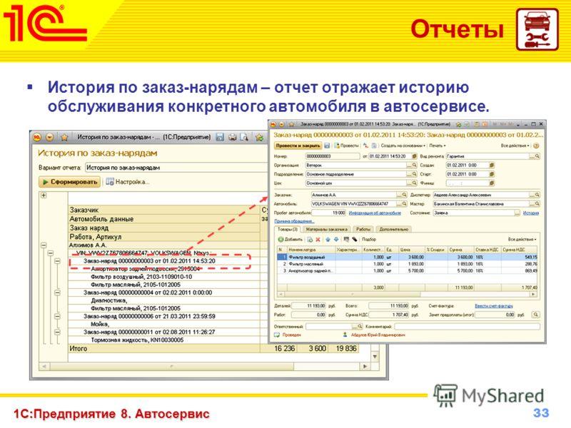 33 www.1c-menu.ru, Октябрь 2010 г. 1С:Предприятие 8. Автосервис Отчеты История по заказ-нарядам – отчет отражает историю обслуживания конкретного автомобиля в автосервисе.