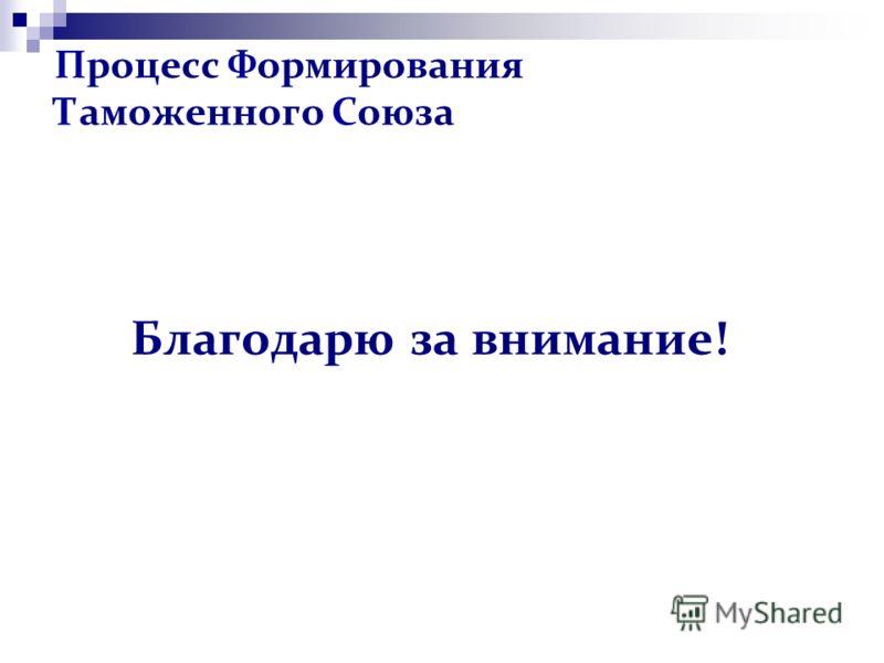 Процесс Формирования Таможенного Союза Благодарю за внимание!