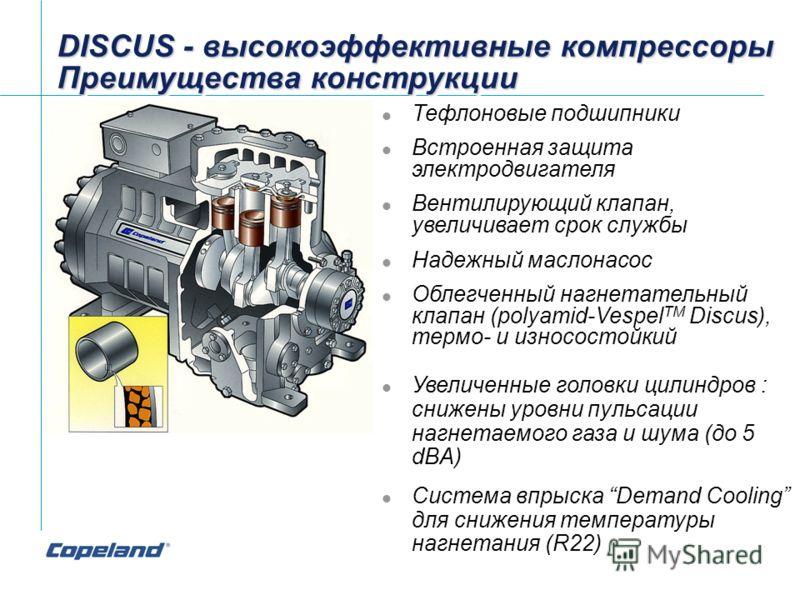 DISCUS - высокоэффективные компрессоры Преимущества конструкции DISCUS - высокоэффективные компрессоры Преимущества конструкции Тефлоновые подшипники Встроенная защита электродвигателя Вентилирующий клапан, увеличивает срок службы Надежный маслонасос