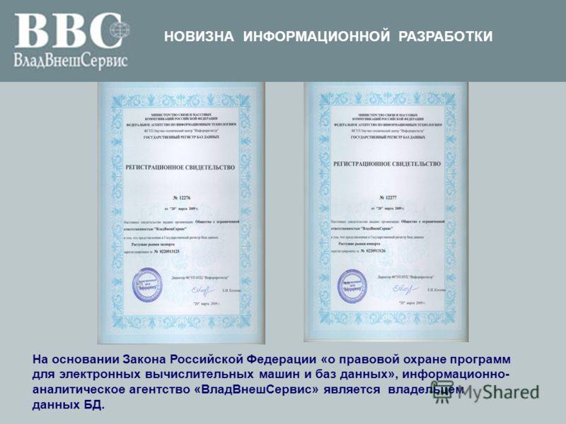 На основании Закона Российской Федерации «о правовой охране программ для электронных вычислительных машин и баз данных», информационно- аналитическое агентство «ВладВнешСервис» является владельцем данных БД. ФЕДЕРАЛЬНОЕ АГЕНТСТВО ПО ИНФОРМАЦИОННЫМ ТЕ