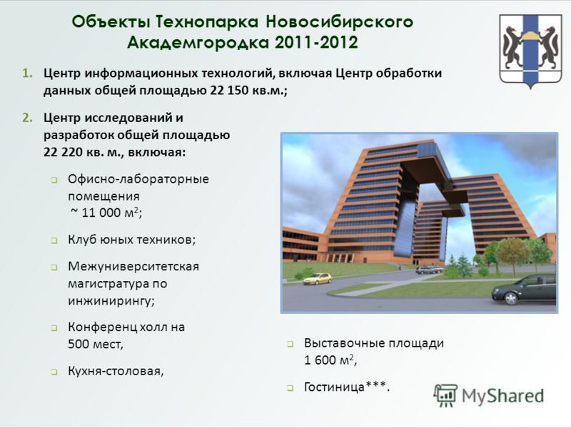 Объекты Технопарка Новосибирского Академгородка 2011-2012 1.Центр информационных технологий, включая Центр обработки данных общей площадью 22 150 кв.м.; 2.Центр исследований и разработок общей площадью 22 220 кв. м., включая: Офисно-лабораторные поме