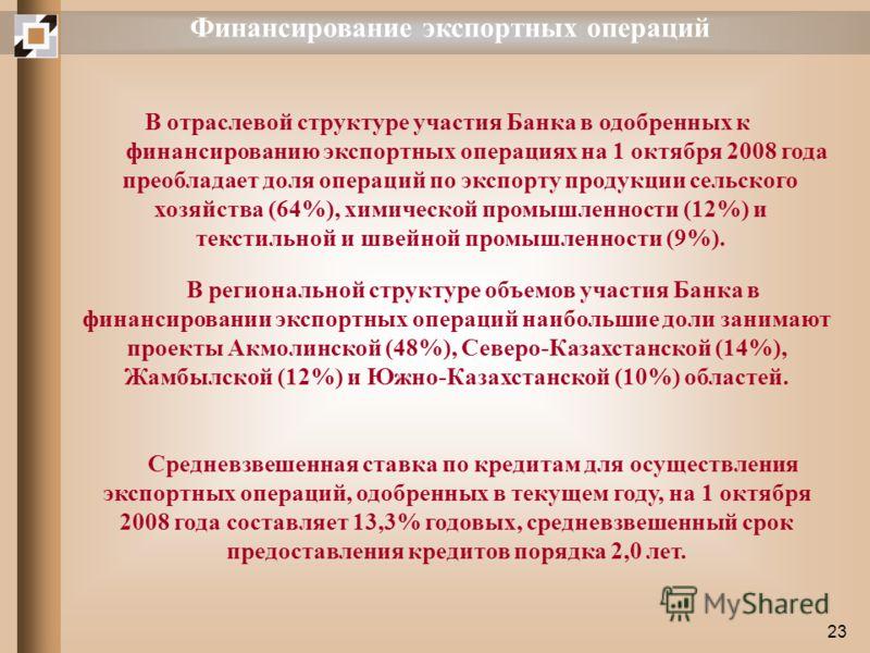 23 Финансирование экспортных операций В отраслевой структуре участия Банка в одобренных к финансированию экспортных операциях на 1 октября 2008 года преобладает доля операций по экспорту продукции сельского хозяйства (64%), химической промышленности