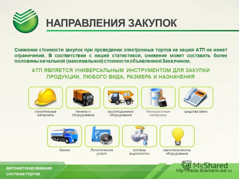 http://trade.sberbank-ast.ru НАПРАВЛЕНИЯ ЗАКУПОК Снижение стоимости закупок при проведении электронных торгов на нашей АТП не имеет ограничений. В соответствии с нашей статистикой, снижение может составить более половины начальной (максимальной) стои