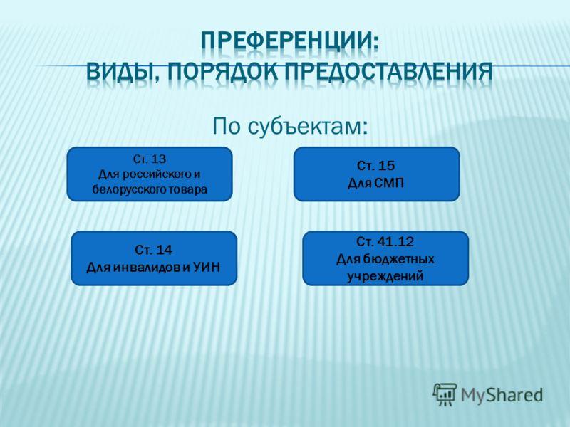 По субъектам: Ст. 13 Для российского и белорусского товара Ст. 14 Для инвалидов и УИН Ст. 15 Для СМП Ст. 41.12 Для бюджетных учреждений