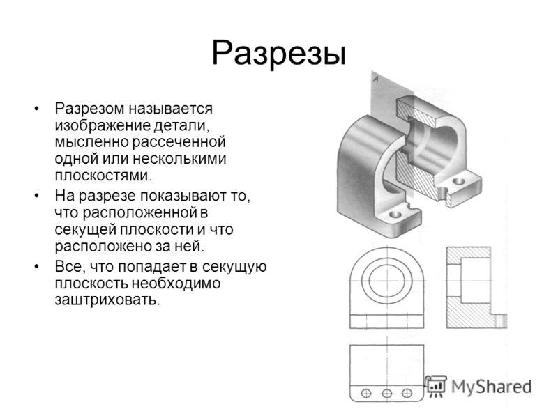 Разрезы Разрезом называется изображение детали, мысленно рассеченной одной или несколькими плоскостями. На разрезе показывают то, что расположенной в секущей плоскости и что расположено за ней. Все, что попадает в секущую плоскость необходимо заштрих