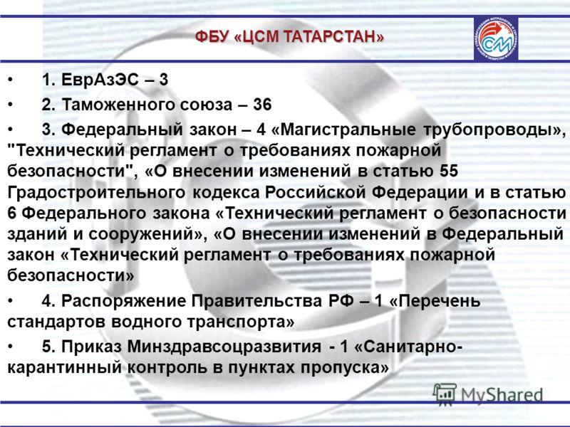 ФБУ «ЦСМ ТАТАРСТАН» 1. ЕврАзЭС – 3 2. Таможенного союза – 36 3. Федеральный закон – 4 «Магистральные трубопроводы»,