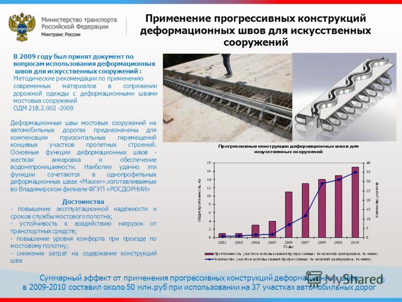 30 Применение прогрессивных конструкций деформационных швов для искусственных сооружений В 2009 году был принят документ по вопросам использования деформационных швов для искусственных сооружений : Методические рекомендации по применению современных