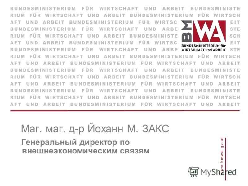 Маг. маг. д-р Йоханн М. ЗАКС Генеральный директор по внешнеэкономическим связям