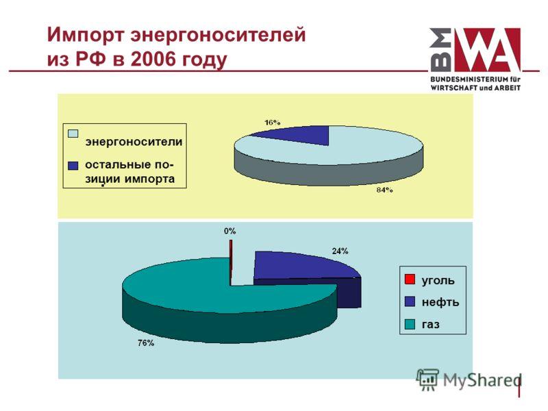 Импорт энергоносителей из РФ в 2006 году энергоносители остальные по- зиции импорта уголь нефть газ