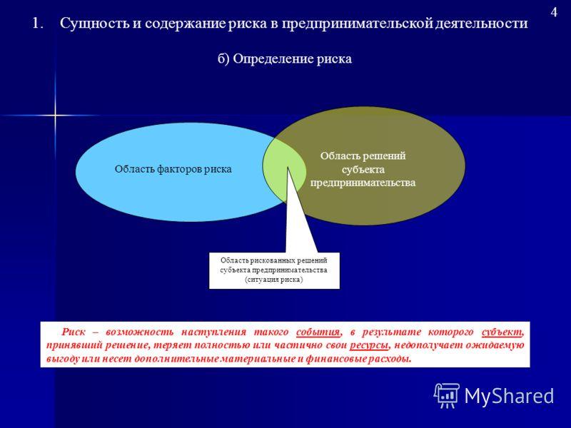 3 а) Подходы к определению риска Подходы к определению «риска» Определение риска с позиций возможных финансовых результатов деятельности Определение риска с позиций возможности наступления неблагоприятного события Определение риска с точки зрения воз