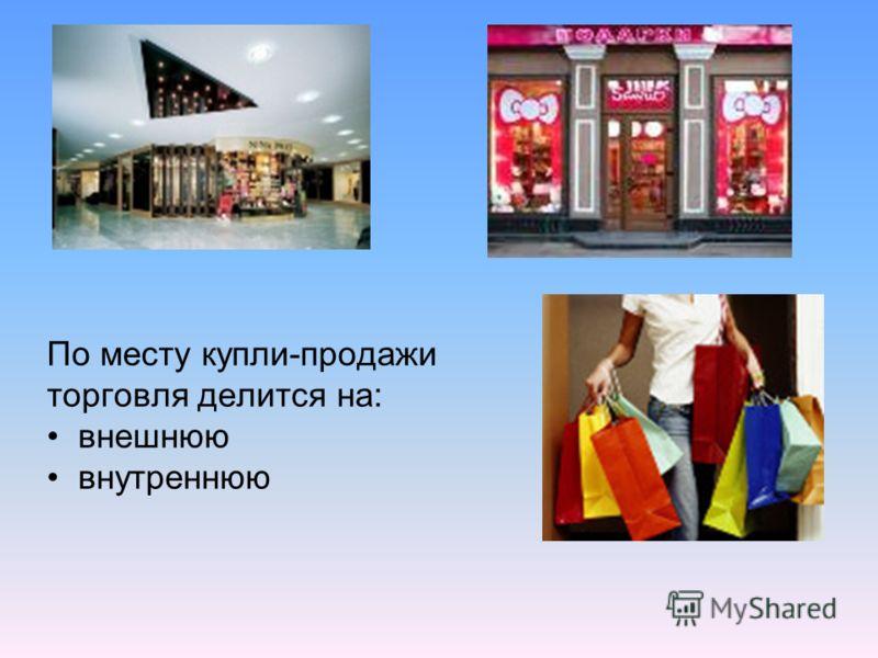 По месту купли-продажи торговля делится на: внешнюю внутреннюю