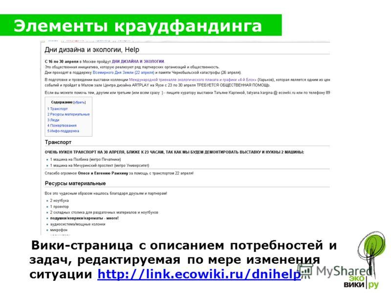 Элементы краудфандинга Вики-страница с описанием потребностей и задач, редактируемая по мере изменения ситуации http://link.ecowiki.ru/dnihelphttp://link.ecowiki.ru/dnihelp
