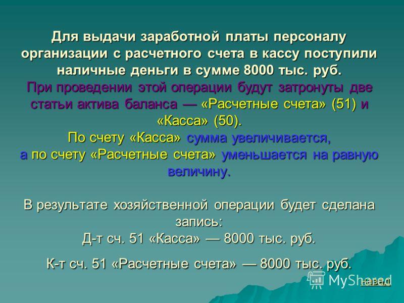Для выдачи заработной платы персоналу организации с расчетного счета в кассу поступили наличные деньги в сумме 8000 тыс. руб. При проведении этой операции будут затронуты две статьи актива баланса «Расчетные счета» (51) и «Касса» (50). По счету «Касс