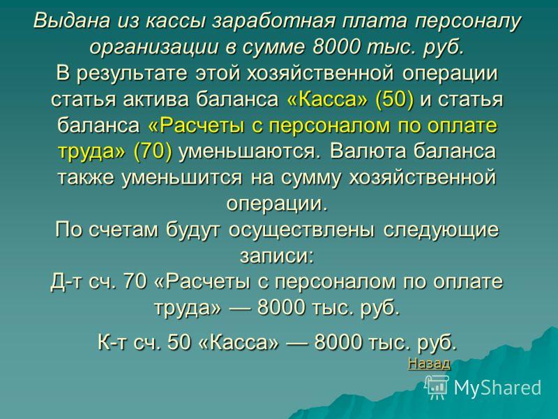 Выдана из кассы заработная плата персоналу организации в сумме 8000 тыс. руб. В результате этой хозяйственной операции статья актива баланса «Касса» (50) и статья баланса «Расчеты с персоналом по оплате труда» (70) уменьшаются. Валюта баланса также у